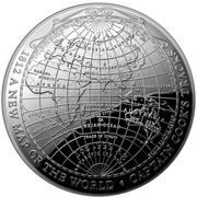 5 Dollars - Elizabeth II (4th Portrait - 1812 A New Map of the World: Captain Cook's Tracks - Silver Domed) -  reverse