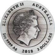 2 Dollars - Elizabeth II (4th Portrait - Antiqued Kookaburra) -  obverse