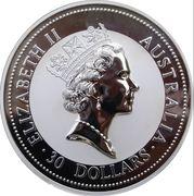 30 Dollars - Elizabeth II (3rd portrait - Australian Kookaburra - Silver Bullion Coin) -  obverse