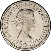 "1 Florin - Elizabeth II (1st portrait; with ""F:D:"") -  obverse"
