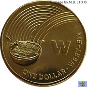 1 Dollar - Elizabeth II (4th Portrait - The Great Aussie Coin Hunt - Letter W) -  reverse