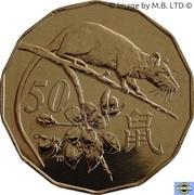 50 Cents - Elizabeth II (6th Portrait - Lunar Year of the Rat) -  reverse