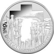 1 Dollar - Elizabeth II (4th Portrait - ANZAC Centenary - Silver Proof) -  reverse