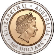 100 Dollars - Elizabeth II (4th Portrait - The Sovereign - Bimetalic Bullion Coin) -  obverse