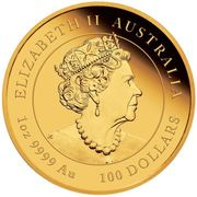 100 Dollars - Elizabeth II (6th Portrait - Year of the Mouse - Gold Bullion Coin) -  obverse