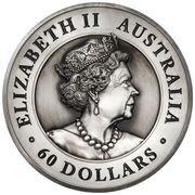 60 Dollars - Elizabeth II (6th Portrait - Australian Kangaroo - Silver Antiqued) -  obverse
