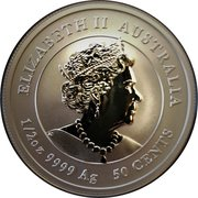 50 Cents - Elizabeth II (6th Portrait -  Year of the Mouse) -  obverse