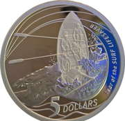 5 Dollars - Elizabeth II (4th Portrait - Year of the Surf Lifesaver - Silver Proof) – reverse