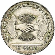 10 Sols / 10 Stuivers (Type 2; Insurrection Coinage) – reverse