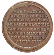 Token - Transfer of the Austrian Netherlands to Maximilian Emmanuel of Bavaria – reverse