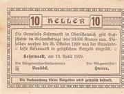 10 Heller (Kefermarkt) – reverse