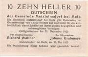 10 Heller (Matzleinsdorf) – reverse