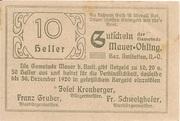 10 Heller (Mauer-Öhling) – reverse