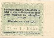 10 Heller (Reichental im Mühlkreis) – reverse