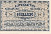 50 Heller (Weitenegg) – reverse