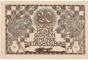20 Heller (Dietrichschlag bei Leonfelden) – obverse