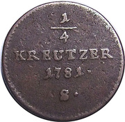 ¼ Kreutzer - Joseph II – reverse
