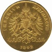 4 Florins / 10 Francs - Franz Joseph I -  reverse