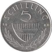 5 Schilling (Copper-nickel) – reverse