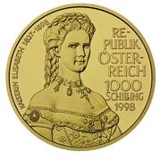 1000 Schilling (Kaiserin Elisabeth) -  reverse