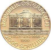 2000 Schilling (Vienna Philharmonic; Gold Bullion Coinage) -  reverse