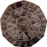 5 Euro (Duerer's Young Hare) -  reverse