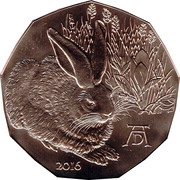 5 Euro (Duerer's Young Hare) -  obverse