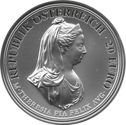 20 Euro (Birth of empress Maria Theresa - clency and faith) – obverse