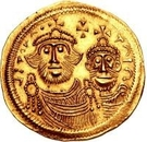 1 Solidus - In the name of Heraclius, 610-641 & Heraclius Constantine, 641 (Cross with flat ends; equal busts with broken legend) – obverse