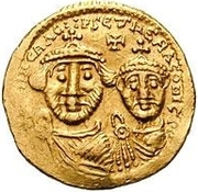 1 Solidus - In the name of Heraclius, 610-641 & Heraclius Constantine, 641 (Cross with flat ends; equal busts with unbroken legend) – obverse