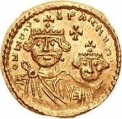 1 Solidus - In the name of Heraclius, 610-641 & Heraclius Constantine, 641 (Cross with flat ends; short right bust) – obverse