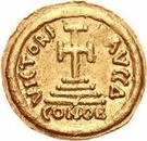 1 Solidus - In the name of Heraclius, 610-641 & Heraclius Constantine, 641 (Cross with flat ends; short right bust) – reverse