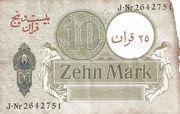 25 Kran (Overprinted on German 10 Mark) – reverse
