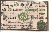 60 Heller (Bad Gastein) – obverse