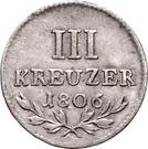 3 Kreuzer Landmünze - Karl Friedrich – reverse