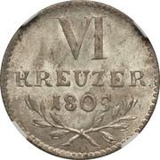 6 Kreuzer - Karl Ludwig Friedrich – reverse