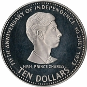 10 Dollars (5th Anniversary of Independence-Prince Charles) -  reverse