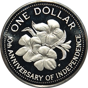 1 Dollar (10th Anniversary of Independence) – reverse