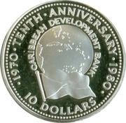 10 Dollars (Caribbean Development Bank) – reverse