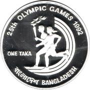 1 Taka (XXV Summer Olympics) – reverse