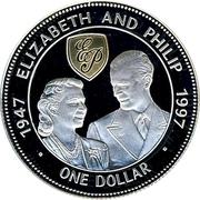 1 Dollar - Elizabeth II (Golden wedding anniversary) – reverse