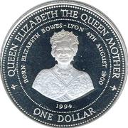 1 Dollar - Elizabeth II (Queen Elizabeth the Queen Mother) – reverse