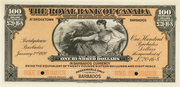 100 Dollars / 12 Pounds 16 Shillings 8 Pence (Royal Bank of Canada) – obverse