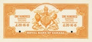 100 Dollars / 12 Pounds 16 Shillings 8 Pence (Royal Bank of Canada) – reverse