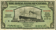 5 Dollars / 1 Pound 10 Pence (Royal Bank of Canada) – obverse