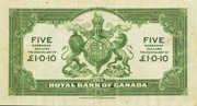 5 Dollars / 1 Pound 10 Pence (Royal Bank of Canada) – reverse