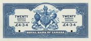 20 Dollars / 4 Pounds 3 Shillings 4 Pence (Royal Bank of Canada) – reverse