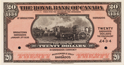 20 Dollars / 4 Pounds 3 Shillings 4 Pence  (Royal Bank of Canada) – obverse