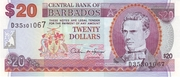 20 Dollars (Large doted numeral; with pelican) – obverse