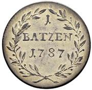 1 Batzen - Franz Joseph Sigismund von Roggenbach – reverse